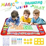YEEGO DIRECT Doodle Drawing Mat, Large Size Aqua Doodle Magic Water Painting Doodle Mat 32''x24'' with 4 Colors 6 Pens 6 Molds Booklet Coloring Mat for Boy Girl(Large Size) (Color: Large Size(32 X 24inch))
