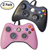 FSC Mixed Pack of 2 USB Wired Game Pad Controller for Use With Xbox 360, Windows 10 5 Colors (Black/Pink)