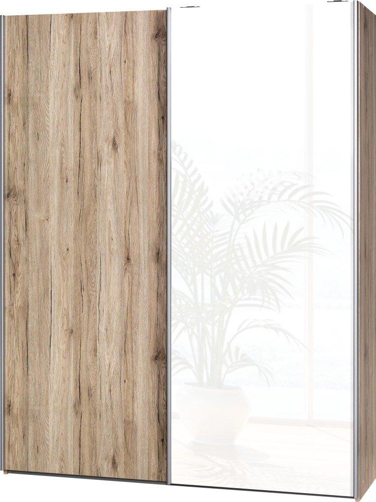 Schwebetürenschrank Soft Plus Smart Typ 41″, 150 x 194 x 42cm, Sanremo hell/Sanremo hell/Weiß hochglanz