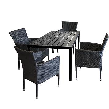 5tlg. Gartengarnitur Gartentisch Polywood 150x90cm Schwarz + 4x stapelbare Polyrattan Sessel Schwarz Sitzgruppe Sitzgarnitur Gartenmöbel Balkonmöbel Set