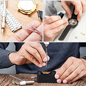 Watch Repair Tool Kit, AUTOXEL Watch Band Link Tool Set 127 Pcs Watch Case Opener Spring Bar with Carrying Bag, Replace Watch Battery Helper Multi Functional Tools with User Manual for Beginner