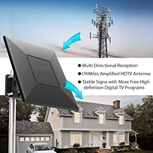 Easy Installation Outdoor Amplified Digital HDTV Antenna with High Gain Amplifier 150 Mile Long Range Support 4K 1080P UHF VHF Freeview 33ft Coax Cable for Indoor//Outdoor//RV//Attic Use