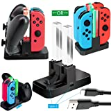 WHITEOAK Switch Pro Controller Charger for Nintendo Switch Joy-Con Charging Dock Station Stand with LED Indicator,[Upgrade Version] with Free Type C Cable (Color: Dark Black(1+4))