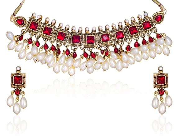 Zaveri Pearls Kundan Pearl Drop Choker Necklace Set for Women-ZPAM42 at amazon