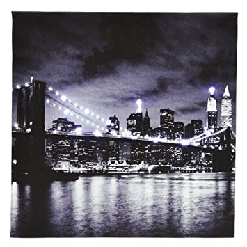 tableau toile lumineuse 12 led deco new york vue pont brooklyn. Black Bedroom Furniture Sets. Home Design Ideas