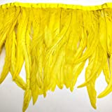 Natural Rooster Tail Feathers Fringe Trim (Yellow) (Color: Yellow)