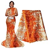 pqdaysun 5 Yards African Net Lace Fabrics Nigerian French Fabric Embroidered and Rhinestones Guipure Cord Lace (Orange and White) . (Color: Orange and White, Tamaño: 51 Inches)