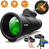 Monocular Telescope - 12X50 High Power ?HD Monocular for Bird Watching? with Smartphone Holder & Tripod IPX7 Waterproof Monocular Made by Hyper FMC BAK4 Prism & Eco-Friendly Materials (Color: Deep black)