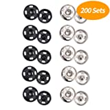 Senkary 200 Sets Sew-On Snaps, Snap Buttons Metal Snap Fasteners Press Studs for Clothes, Sewing Clothing, Jeans, Jackets (Black and Silver, 10 mm) (Color: Black, Silver)
