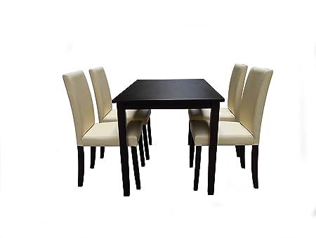 CULTLIVE 5er SET | Esstisch mit 4er Stuhl-SET | 1x Esstisch MARIA 120 x 75 CM | 4 x Stuhle MARIA | FARBE: Beige | Esstisch | Restauranttisch | MASSIVHOLZ |DEUTSCHER Fachhandel