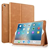 iPad Pro 10.5 Case - BoriYuan Vintage Genuine Leather Case Slim Folio Stand Cover for Apple iPad Pro 10.5 inch with Multiple Viewing Angles,Auto Sleep/Wake and Card Slot (Brown) (Color: Brown)