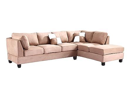 Glory Furniture G634-SC Sectional Sofa, Mocha, 2 boxes