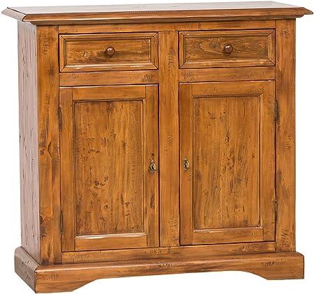 Aparador Country de madera maciza de tilo acabado nogal 110x 45x 103cm