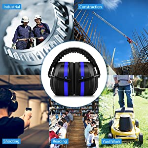 Mpow 035 Noise Reduction Safety Ear Muffs, Shooters Hearing Protection Ear Muffs, Adjustable Shooting Ear Muffs, NRR 28dB Professional Ear Defenders for Shooting Hunting Season, with a Carrying Bag (Color: Blue)