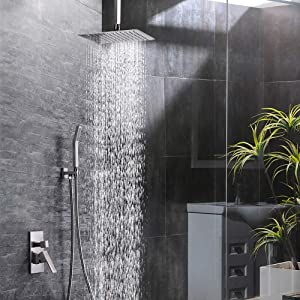 SR SUN RISE 12 Inch Ceiling Mount Brushed Nickel Shower System Bathroom Luxury Rain Mixer Shower Combo Set Ceiling Rainfall Shower Head System (Contain Shower Faucet Rough-In Valve Body and Trim) (Color: Brushed Nickel, Tamaño: 12 Inch)