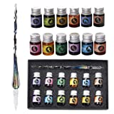 Mancola Glass Dipped Pen Ink Set-Rainbow Crystal Pen with 12 Colorful Inks for Art, Writing, Signatures, Calligraphy, Decoration, Gift Ma-12