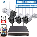 [2019 Signal Enhanced Version] Security Camera System Wireless, 8 Channel Surveillance DVR Recorder and 4Pcs 1080P Home Outdoor Motion Activated IP Bullet Camera with Night Vision, 2TB Hard Drive (Color: 4Pcs 1080P camera+2TB HDD)