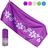 Tuvizo Microfiber Beach & Travel Towel XL for Camping Swim Sports Quick Drying Beach Towels No Sand. Travel Beach Gifts for Women Girls. Beach Vacation/Travel Accessories for Women. Purple (Color: Royal Purple)