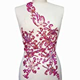 Noble Pure Handmade Beaded Crystal Rose Red AB Patches Sew on Rhinestones with Stones Sequins Beads Applique Designs Patches Sewing for DIY Wedding Dress Trim 30x60cm (Pink) (Color: Pink)