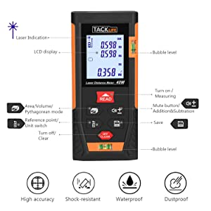 Tacklife HD40 Classic Laser Measure 131Ft M/In/Ft Mute Laser Distance Meter with 2 Bubble Levels, Backlit LCD and Pythagorean Mode, Measure Distance, Area and Volume - Carry Pouch and Battery Included (Color: Black&Orange, Tamaño: 131Ft)