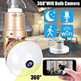 Bulb IP Camera - Symfury 360 Panoramic WiFi Fisheye Spy Hidden Cameras with 2 Way Audio Night Vision Motion Detection Pet Baby Monitor for Home Security Outdoor Surveillance Cam for Android iPhone