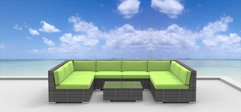 www.urbanfurnishing.net Urban Furnishing - Tahiti 9pc Modern Outdoor Backyard Wicker Rattan Patio Furniture Sofa Sectional Couch Set - Lime Green at Sears.com