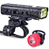 2019 USB Rechargeable Bike Light Set, Real 600 lumens Bike Headlight, Free LED Bike Taillight Included, IPX6 Waterproof Bicycle Light w/ Remote Control Button, 5 Lighting Mode (Black Yellow) (Color: Black Yellow)