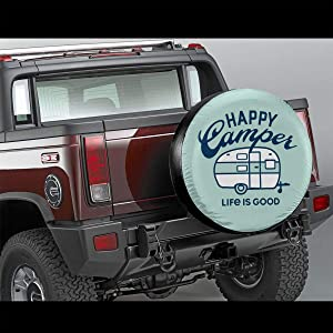 Fresquo Tire Covers Happy Camper Life is Good Potable Polyester Universal Spare Wheel Tire Cover Wheel Covers for Jeep Trailer RV SUV Truck Camper Travel Trailer Accessorie