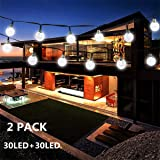 Outdoor String Lights, 30 LED 20ft Solar Globe String Light Crystal Ball Waterproof Starry Fairy Lights, Solar Powered Christmas Decoration Light for Xmas Tree Garden Home Wedding Party, 2-PACK(White) (Color: 2PACK-Crystal Ball-White, Tamaño: 30 LED)