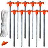 ABCCANOPY Tent Stake Pegs Garden Stakes, 10pcs Galvanized Non-Rust 10'' Pop up Pergolas Canopy Accessories Gazebo Accessories Peg Stakes Orange Stopper Bonus 4pcs 10ft Ropes & 1 PVC top (Color: 1 set of 10xStakes with 4xRopes)