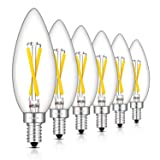 CRLight 2W 4000K LED Candelabra Bulb Daylight (Neutral White) 300LM Dimmable, 30W Incandescent Equivalent, Replace 4W Compact Fluorescent CFL Bulbs, E12 Base B10 Candle Clear Glass Torpedo Top, 6 Pack (Color: Neutral White(4000K), Tamaño: 6 Pack)