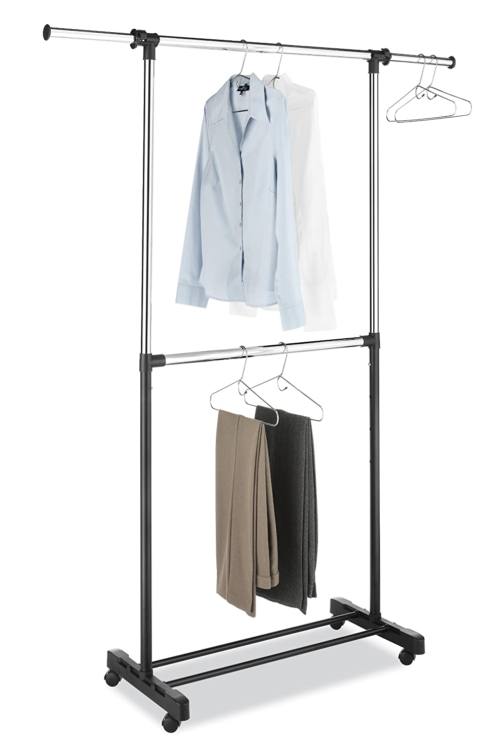 Whitmor Adjustable Two Garment Rod Rack Clothes Stand ...