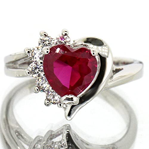 Ruby Color CZ Heart Silver Tone Ring