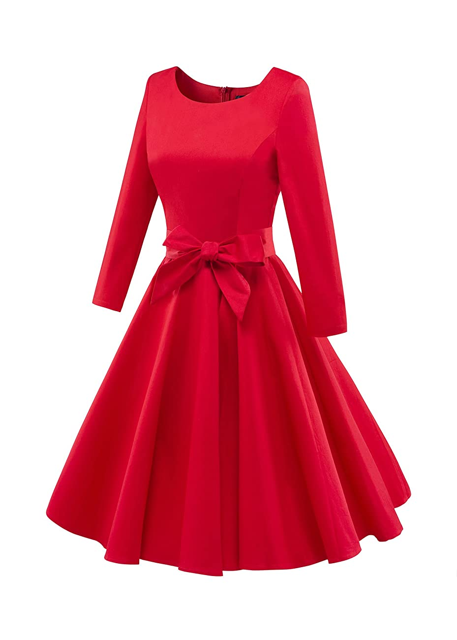 LUOUSE Audrey Hepburn 3/4 Sleeve 1950s Vintage Rockabilly Dress 1