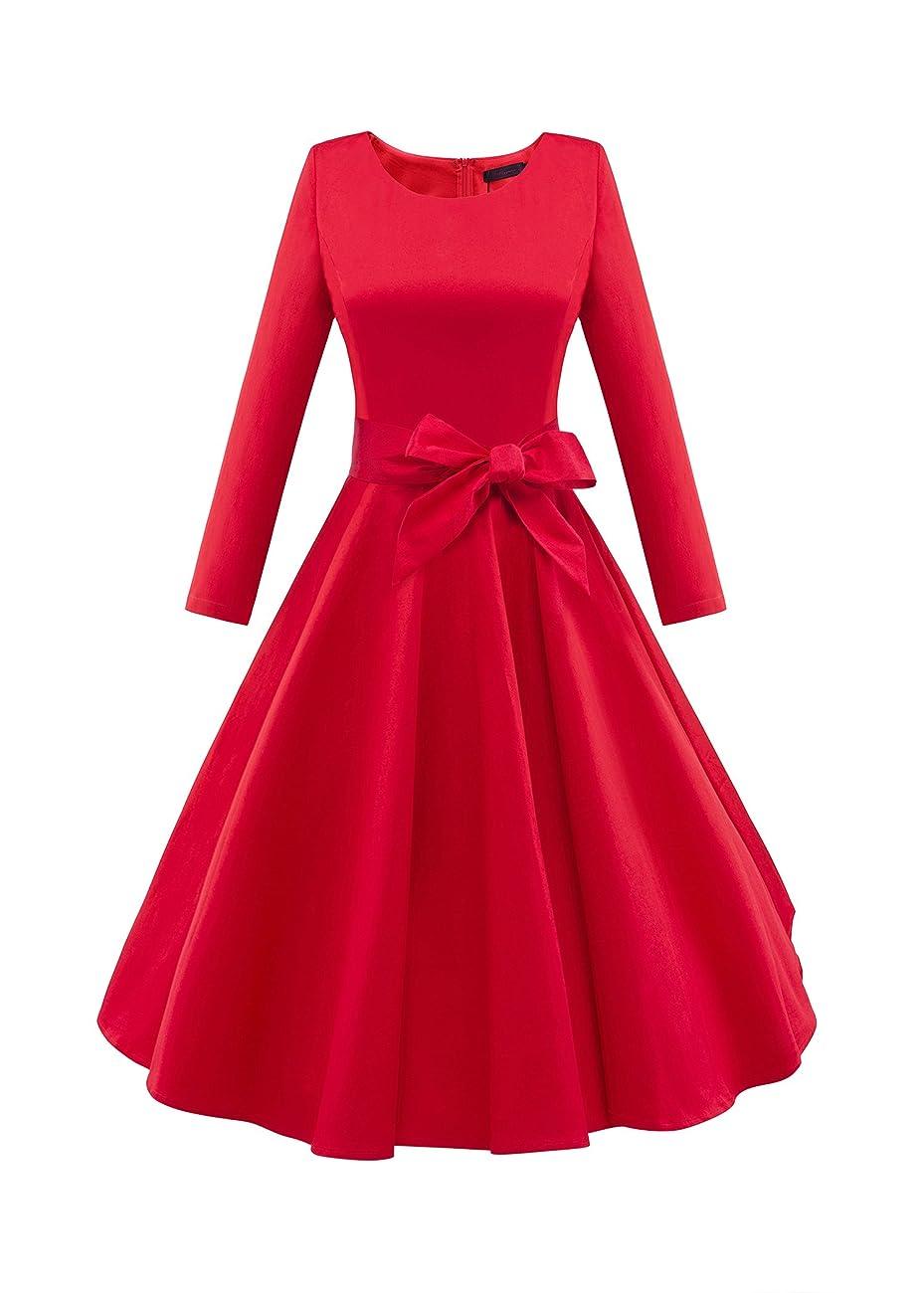 LUOUSE Audrey Hepburn 3/4 Sleeve 1950s Vintage Rockabilly Dress 0