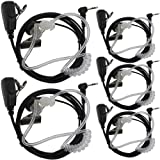 TENQ 5pack 1 Pin Covert Acoustic Tube Earpiece Headset for Motorola Cobra Talkabout Walkie Talkie Two Way Radio 1pin