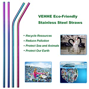 VEHHE Metal Straws Stainless Steel Straws 10.5 Extra Long Reusable Rainbow Colorful BPA Free FDA Approved Straws for 20/30 Oz for Yeti Rtic Sic Ozark