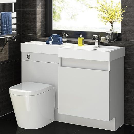 1200mm White Vanity Unit Round Toilet Bathroom Sink Right Hand Storage Furniture