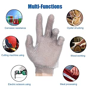 Schwer Stainless Steel Metal Mesh Chainmail Cut Resistant Glove for Food Handling, Meat Cutting Butchers Slicing Chopping Restaurant Work Safety(XL) (Tamaño: XL)