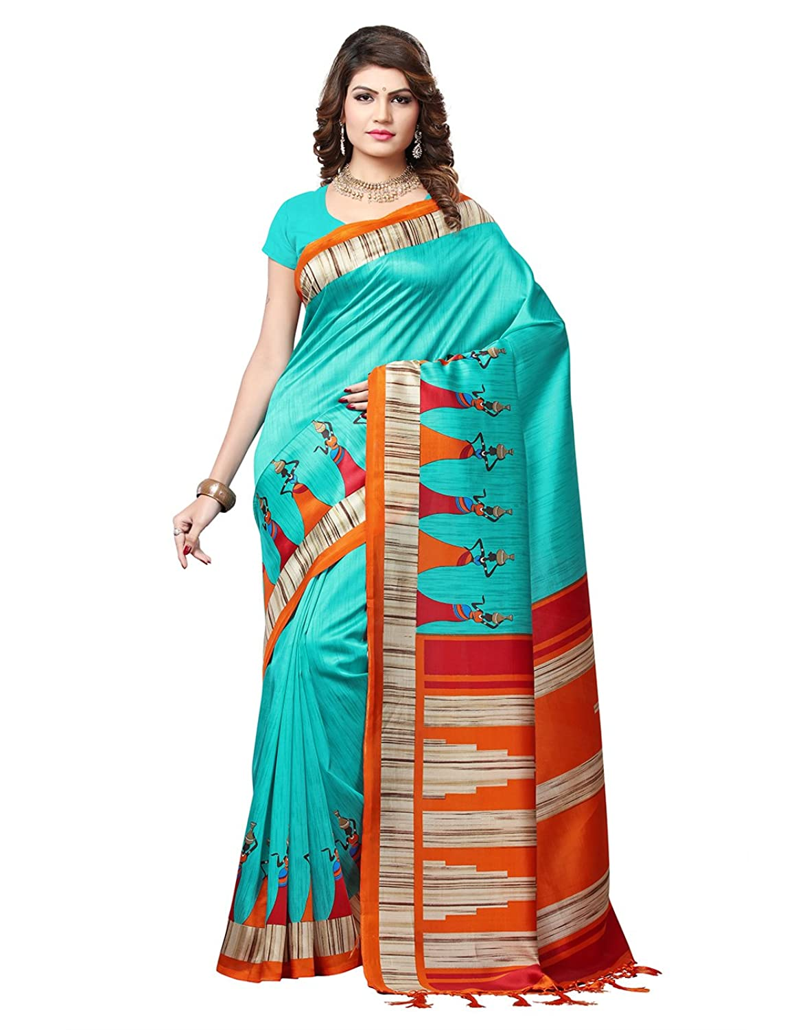 e-VASTRAM Womens Mysore Art Silk Printed Saree With Tassel/Kutch