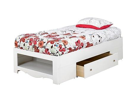 Nexera 313903 Dixie/Pixel 2-Drawer Storage Bed, Twin, White