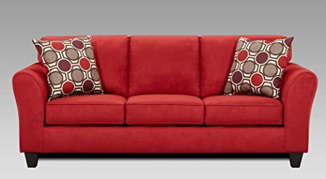 Roundhill Furniture Microfiber Sofa with 2 Pillows, Patriot Red