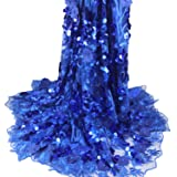 Aisunne African Lace Fabrics 5 Yards Nigerian French Lace Fabric White with 3D Flower Fashion Embroidered Beading and Sequin for Wedding Party Dresses (Blue) (Color: Blue)