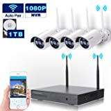 Wireless Security Camera System WIFI NVR Kit CCTV 4CH 1080P NVR 4pcs 960P Indoor Outdoor Bullet IP Cameras P2P IR Night Vision Waterproof Plug and Play Easy Remote View Playback with 1TB Hard Drive (Color: 4pcs 960P Cams + 4CH 1080P NVR With 1TB Hard Drive)