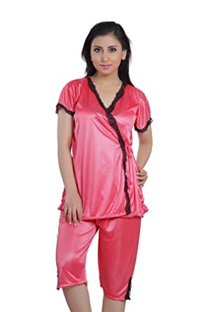 Hot 'N' Sweet Womens Satin Nightwear ,Red ,Free Size at amazon