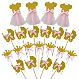 28 PCS Pink and Glitter Gold Girl Baby Shower Cupcake Toppers Cute Crown Dress Baby Carriage Cake Toppers Picks for Wedding Birthday Girls' Party Decorations (Color: Pink)