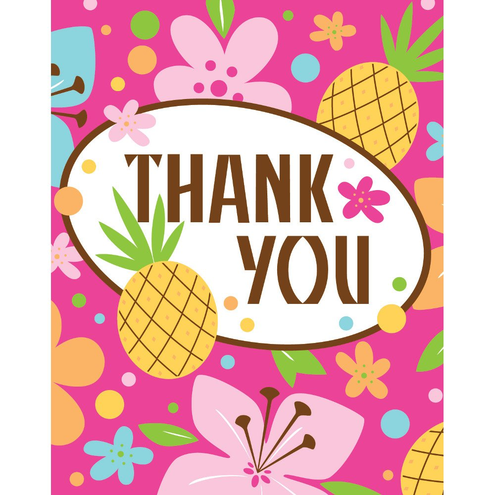 Creative Converting Pink Luau Fun 8 Count Thank You Cards