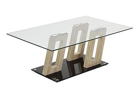 HL Design 01-12-529.1 Couchtisch Ferris Klarglas 8 mm, Sicherheitsglas, Sonoma Eiche hell, Bodenplatte glas 10 mm, Sicherheitsglas, 110 x 60 x 40 cm, schwarz