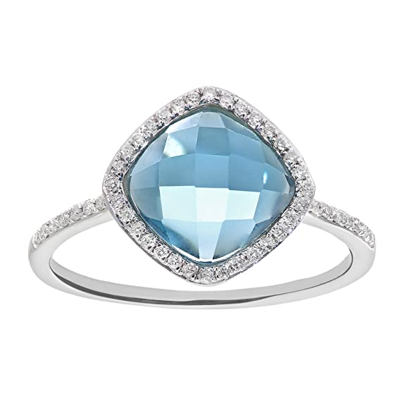 Naava 9 ct White Gold Diamond and 2.65ct Cushion Cut Blue Topaz Gemstone Ring - Size K