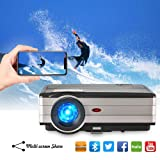 Caiwei 2018 Android 6.0 LCD Bluetooth Video Projectors 3500 Lumen Home Theater Wireless Mirror Projector for Smartphone iPhone Laptop, Support HDMI USB VGA Aux AV Multimedia Proyector LED 50,000hrs (Tamaño: Bluetooth/WiFi/3500lumen(A8AB))